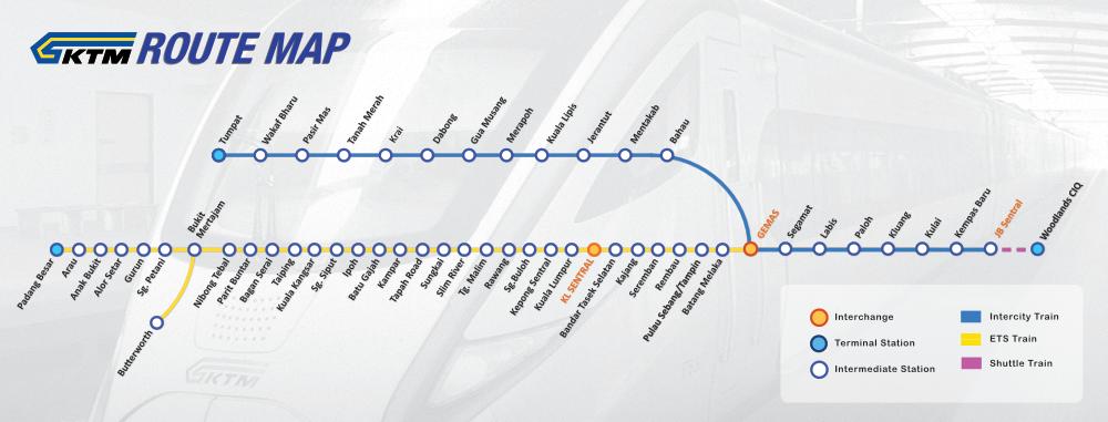 แผนที่เส้นทางวิ่งรถไฟ ktm มาเลเซีย